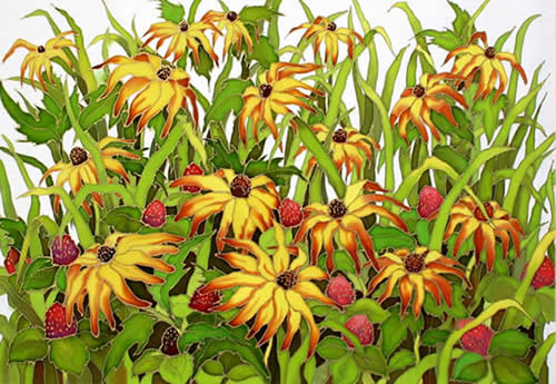 Brown Eyed Susan, Silk painting