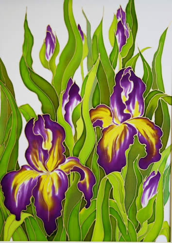 Irises, Silk painting