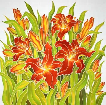 Orange Lilies(center), Silk painting