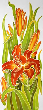 Orange Lilies(right), Silk painting