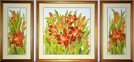 Orange Lilies, Framed silk paintings