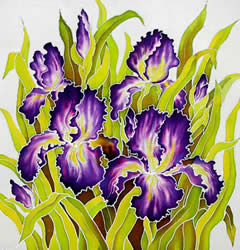 Pruple Irises, silk painting