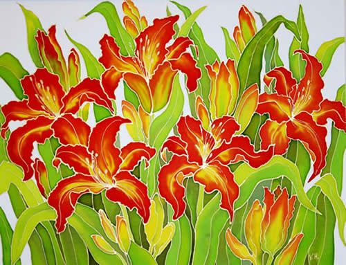 Red Lilies, Silk painting