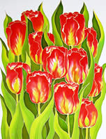 Red Tulips, silk painting
