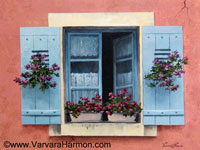 Blue Shutters, Acrylic painting by Varvara Harmon