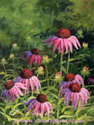 Echinacea, acrylic painting on canvas