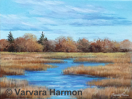 Late Fall Marsh, Acrylic painting on canvas 9x12
