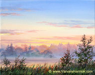 River Mist, original painting acrylic on canvas by Varvara Harmon