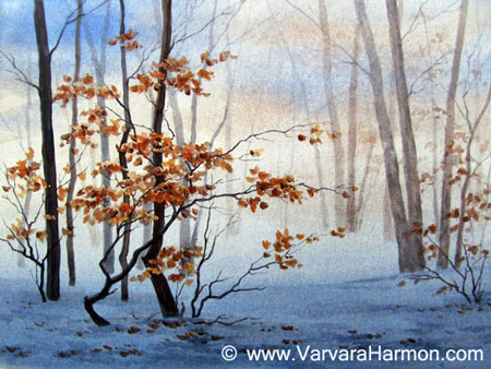 Winter Foggy Forest, original painting acrylic on canvas by Varvara Harmon