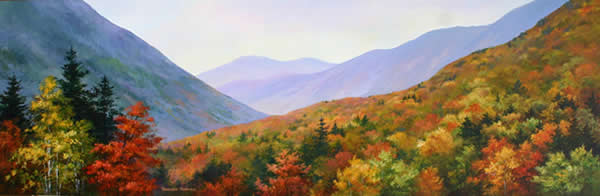 Autumn at Crawford Notch, Original acrylic painting