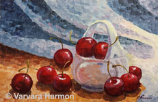 Basket with Cherries, original painting acrylic on canvas by Varvara Harmon