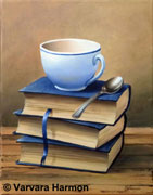 Books with a Cup, original painting acrylic on canvas by Varvara Harmon