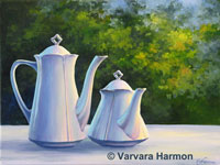 Coffee Pots, original painting acrylic on canvas by Varvara Harmon