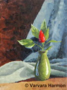Red Peper in Green Vase, original painting acrylic on canvas by Varvara Harmon