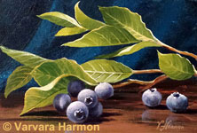 Blueberries Branch, original painting acrylic on canvas by Varvara Harmon