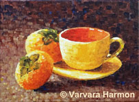Yellow Cup w/Persimmons, original painting acrylic on canvas by Varvara Harmon
