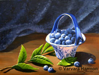 Blueberry Vase, original painting acrylic on canvas by Varvara Harmon