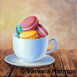 Macaroons, original painting acrylic on canvas by Varvara Harmon