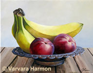Nectarines, original painting acrylic on canvas by Varvara Harmon