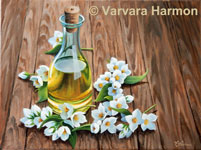 Oil Bottle, original painting acrylic on canvas by Varvara Harmon