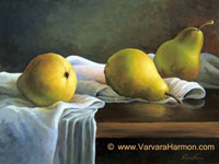 Pears, original painting acrylic on canvas by Varvara Harmon