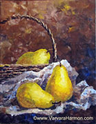 Pears on the Paper, original painting acrylic on canvas by Varvara Harmon
