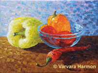 Peppers, original painting acrylic on canvas by Varvara Harmon