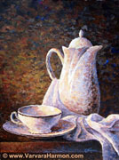 Pitcher with a Cup, original painting acrylic on canvas by Varvara Harmon