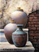Antique Pots, original painting acrylic on canvas by Varvara Harmon