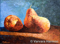 Red Pears, original painting acrylic on canvas by Varvara Harmon