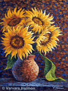 Sunflowers-2, original painting acrylic on canvas by Varvara Harmon