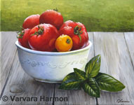 Tomatoes, original painting acrylic on canvas by Varvara Harmon