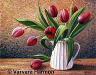 Tulips, original painting acrylic on canvas by Varvara Harmon