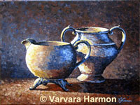 Two Pitchers, original painting acrylic on canvas by Varvara Harmon