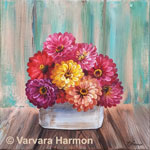 Zinnias, original painting acrylic on canvas by Varvara Harmon