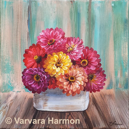 Zinnias, original acrylic painting by Varvara Harmon