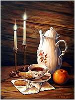 Tea Time, original painting acrylic on canvas by Varvara Harmon
