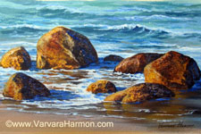 Beach Rocks, Acrylic painting by Varvara Harmon