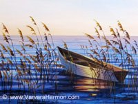 Boat, original painting acrylic on canvas by Varvara Harmon