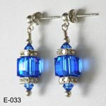 Sterling Silver Sapphire Swarovski crystals earrings