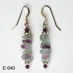 Sterling Silver Fluorite crystals earrings