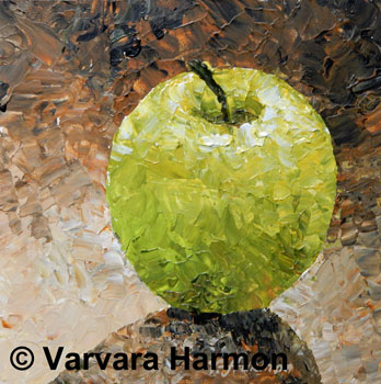 Green Apple - Pallet Knife, Still life miniature acrylic painting by Maine Artist Varvara Harmon
