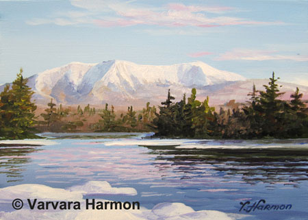 Mountain Katahdin, Miniature #5, oil painting on gesso board 5x7