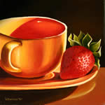 Yellow Cup with Strawberry, oil painting