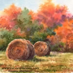 Autumn Hay, watercolor painting