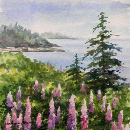 Coastal Lupines, Miniature watercolor