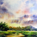 Evening Road, watercolor painting