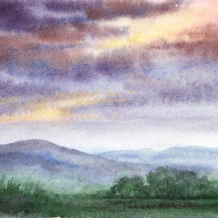 Evening Mist, Miniature watercolor