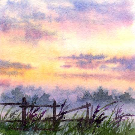 Morning Dew, Miniature watercolor