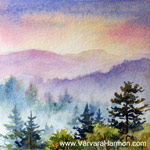 Mountain Sunset- 2 - Mini, watercolor painting